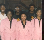 Alvin, ???, Clifton (missing another line brother.  (Fall 1984) Giving support to line sister of AKA.  They are our Big